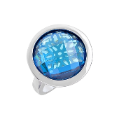 Кольцо с большим круглым голубым фианитом, серебро