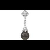 Кулон с искусственным черным жемчугом и фианитами, серебро