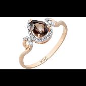 Кольцо Капелька с раухтопазом и фианитами, красное золото