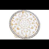 Кольцо с круглым ажурным элементом с перламутром и фианитами, серебро с золотым покрытием