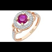 Кольцо с бриллиантами и рубином, красное золото