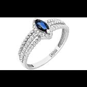 Кольцо с бриллиантом и сапфиром, канатная шинка, белое золото