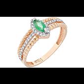Кольцо с бриллиантами и изумрудом, красное золото