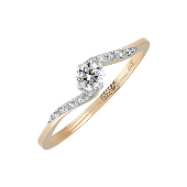 Кольцо тонкое с бриллиантами, красное золото