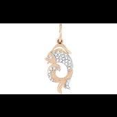 Подвеска Золотая Рыбка с фианитами, красное золото