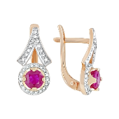 Серьги с бриллиантом и рубином, красное золото