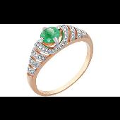 Кольцо с изумрудом и бриллиантами, красное золото 585 проба