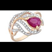 Кольцо Перо Жар-Птицы с рубином и фианитами, красное золото