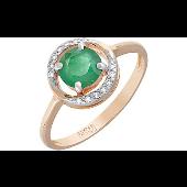 Кольцо с бриллиантом и изумрудом, красное золото
