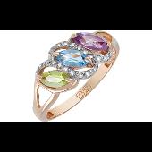 Кольцо с топазом, хризолитом, аметистом и фианитом, красное золото
