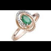 Кольцо с овальным изумрудом и бриллиантами, красное золото 585 проба