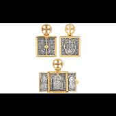Подвеска Складень Богородица, Господь Вседержитель и Николай Чудотворец, серебро с позолотой