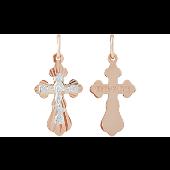 Крест православный с лепестками и алмазными гранями, красное и белое золото