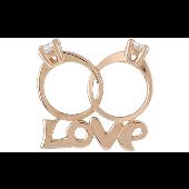 Подвеска Два обручальных кольца с фианитами и надпись Love, красное золото