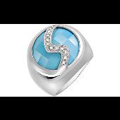 Кольцо с фианитами и имитацией Бирюзы, серебро