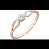 Кольцо Малинка с фианитами, красное золото