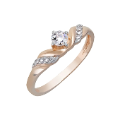 Кольцо с кристаллами SWAROVSKI, красное золото