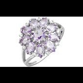Кольцо Цветок с аметистами и фианитами, серебро