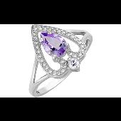 Кольцо Сердце с аметистом и фианитом, серебро