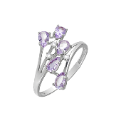 Кольцо с аметистами и фианитами, серебро