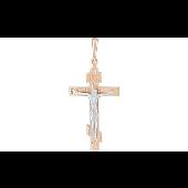 Крест православный восьмиконечный, красное и белое золото