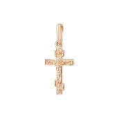 Подвеска Крест литой из красного золота 585 пробы
