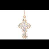 Крест литой ажурный, красное и белое золото
