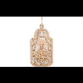 Икона Николай Чудотворец в ажурном окладе с лазерной гравировкой, красное золото