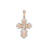 Крест православный ажурный с фианитом, красное золото