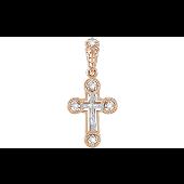 Крест православный с фианитами, красное золото