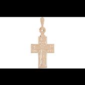 Крест православный прямой без распятия с изображением восьмиконечного креста, красное золото