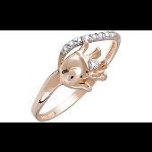 Кольцо Ручка Младенца с фианитами, красное золото