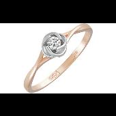 Кольцо Роза с бриллиантом, красное золото
