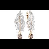 Серьги Жар-Птица с раухтопазом и фианитом, красное золото