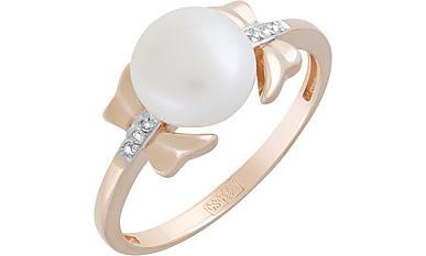 Кольцо Бант с жемчугом и фианитами, красное золото