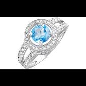 Кольцо с топазом и фианитом, серебро