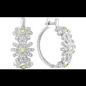 Серьги -кольца Цветы с хризолитами и фианитами, серебро