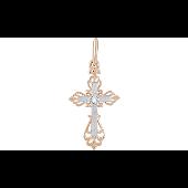 Крест литой с фианитом без распятия, красное золото