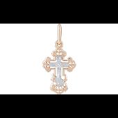 Крест православный литой с накладкой из белого золота, красное золото