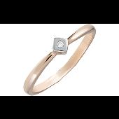 Кольцо с 1 фианитом, красное золото