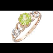 Кольцо с хризолитом и фианитом, красное золото