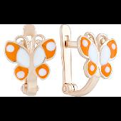 Серьги детские Бабочки с оранжевой эмалью, красное золото