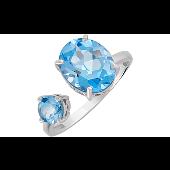 Кольцо разомкнутое с двумя топазами, серебро