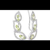 Серьги Каффы с хризолитом и фианитом, серебро