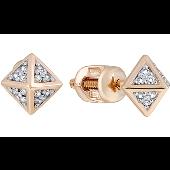 Серьги-пусеты Пирамида с  бриллиантами, красное золото