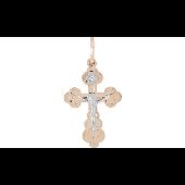 Крест с ручной разгравировкой с фианитом, красное золото