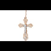 Крест православный с лепестками и фианитом, красное золото