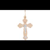 Крест православный с фианитом, красное золото