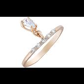 Кольцо с подвесом и фианитами, красное золото