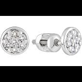 Пуссеты круглые с бриллиантами, белое золото